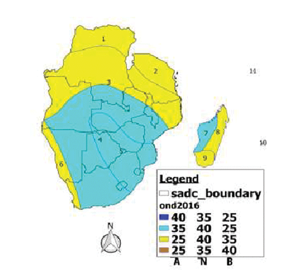 January to March(JFM) 2017. However, northernmost Democratic Republic of Congo (DRC) northern Angola, Tanzania, northern Mozambique, the islands states of Seychelles and eastern-most Madagascar are more likely to receive normal to below normal rainfall most of the season.  Illustration by The SADC Climate Services Centre.