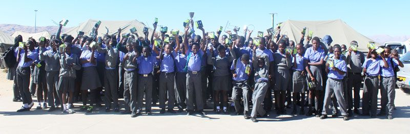 Namib Mills recently provided Edu-Lights to more than 210 learners from Tobias Hainyeko project school to help the children study in the evening. To date, the miller has provided over 600 portable solar lamps to its employees, their children, and the learners at two schools in informal settlements.