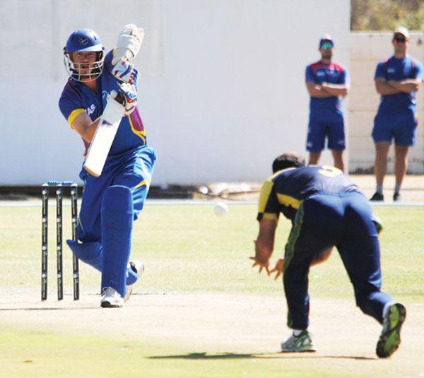 Gerrie Snyman: Namibia's Gerrie Snyman in batting action against Saudi Arabia. Photo credit: Arne Putensen/Proactive