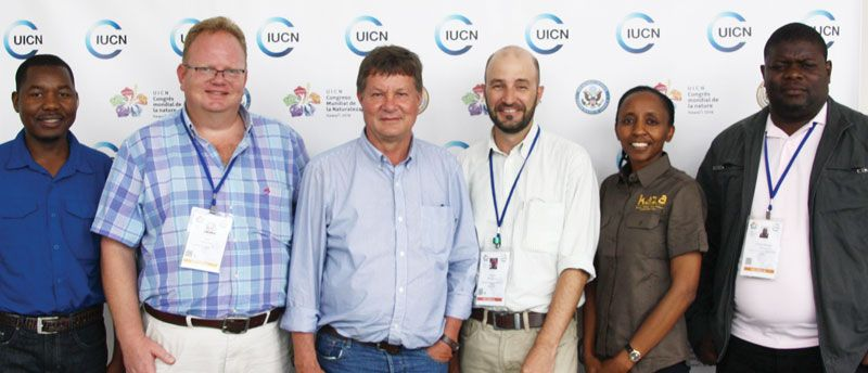 The Namibian delegation who attended the World Conservation Congress of the International Union for the Conservation of Nature, comprised from the left, Mr Johnson Ndokosho, Mr Nils Odendaal, Dr Malan Lindeque, Mr Angus Middleton, Ms Elly Hamunyela and Mr Uatirohange Tjiuoro. The congress took place in Hawaii earlier this month.