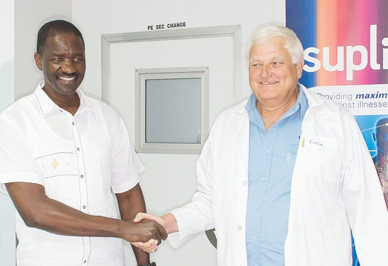 Managing Director of Fabupharm, Fanie Badenhorst Snr and the Minister of Health and Social Services, Hon Dr. Bernard Haufiku who visited the pharmaceutical manufacturer in Otjiwarongo recently.