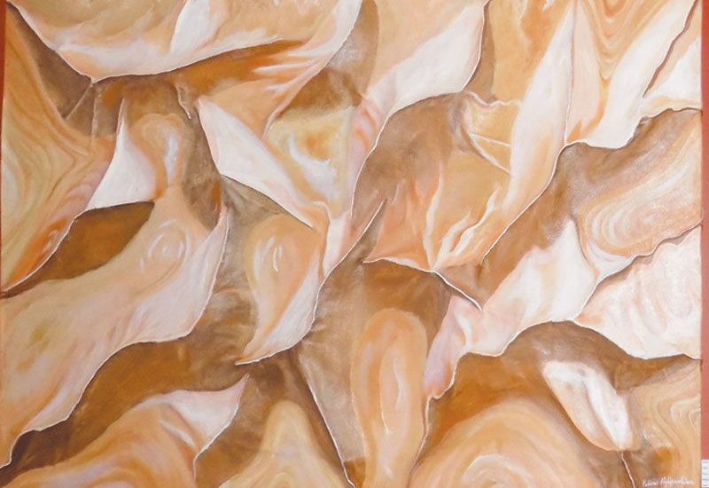 In his signature style, artist Fillow Nghipandulwa uses different materials and golden hues to create 3 D paintings of the gentle slopes and sand dunes formed by the wind in the Namib Desert.