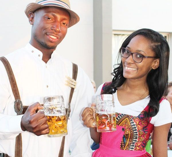 Kleopas Martin (Deputy Unit Manager at NBL) and Rebecca Harases from NBL Procurement show off the traditional Bavarian attire ('Lederhosen' for the gents, and 'Dirndl' for the ladies) at the launch of the 2016 annual Windhoek Oktoberfest.