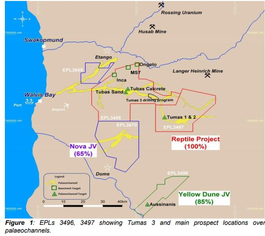 Exploration at Tumas 3 encounters high uranium mineralisation