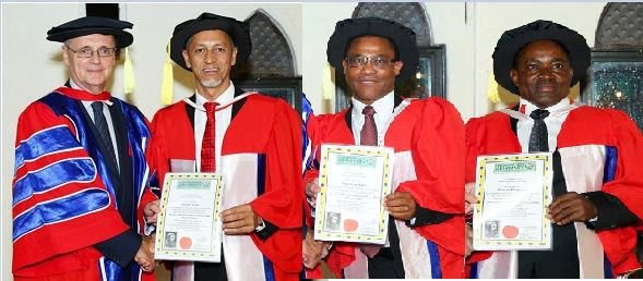 Three exemplary Namibian businessmen receive Doctorandus (Honoris Causa) in Business Administration