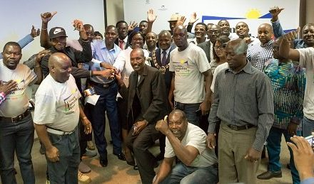 Erongo Marine permanent employees celebrate after first dividend pay-out