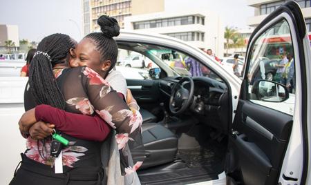 19 lucky MTC winners drive away in Hilux single cab bakkies