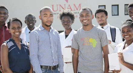 Five medical students equipped with tablets preloaded with the application versions of the world's best-selling medical textbook