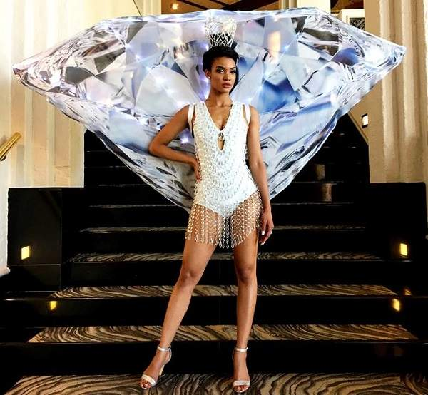 Building a diamond generation inspires Miss Namibia's costume for Miss Universe pageant