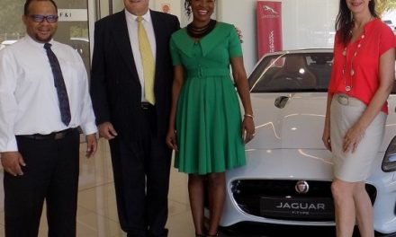 Recently crowned Namibian Businesswoman of the Year 2019, welcomed by Jaguar Windhoek staff