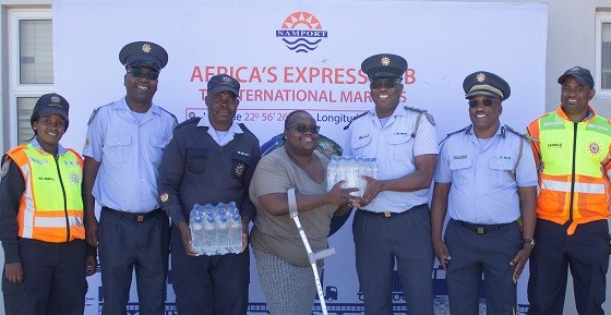 Manning a checkpoint is exhausting – Namport sends water for police officers on duty