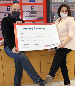 Cancer Apple Project shelved until next year – Bank Windhoek donates N$500k to CAN