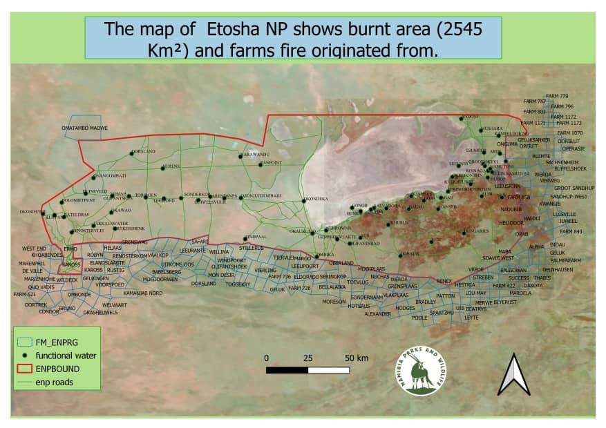 Etosha National Park fire burns through 2,545 square kilometres
