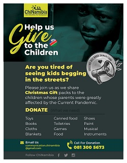 ChiNamibia pleads for donations to assist vulnerable children as the festive season draws closer