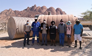 Spitzkoppe community receives two water tanks to help with additional storage capacity for drinking water